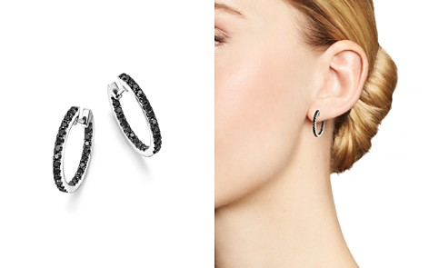 Black Diamond Inside Out Hoop Earrings in 14K White Gold, .85 ct. t.w. - 100% Exclusive - Bloomingdale's_2
