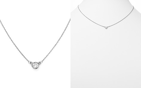 Diamond Bezel Set Pendant Necklace in 14K White Gold, .15 ct. t.w. - 100% Exclusive - Bloomingdale's_2