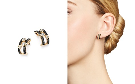 Black and White Diamond Double Row Hoop Earrings in 14K Yellow Gold - 100% Exclusive - Bloomingdale's_2