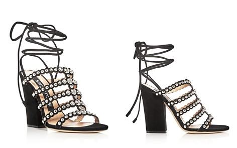 Sergio Rossi Elettra Studded Ankle Tie Block Heel Sandals - Bloomingdale's_2