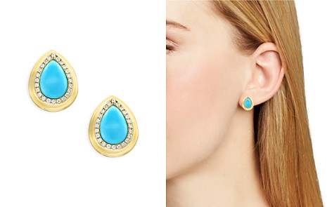 Turquoise and Diamond Halo Teardrop Stud Earrings in 14K Yellow Gold - 100% Exclusive - Bloomingdale's_2
