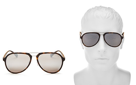 Prada Men's Mirrored Polarized Brow Bar Aviator Sunglasses, 58mm - Bloomingdale's_2
