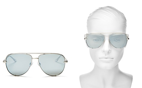 Quay Women's High Key Mirrored Brow Bar Aviator Sunglasses, 56mm - Bloomingdale's_2