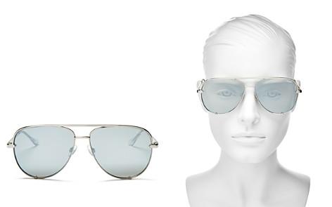 Quay Women's High Key Mirrored Brow Bar Aviator Sunglasses, 56mm - Bloomingdale's_2