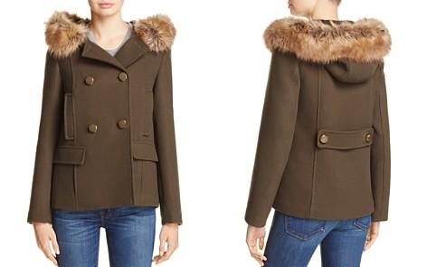 kate spade new york Double-Breasted Faux Fur Twill Coat - Bloomingdale's_2