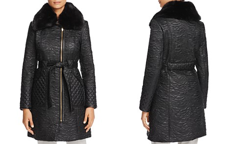 Via Spiga Faux Fur Trim Belted & Quilted Coat - Bloomingdale's_2