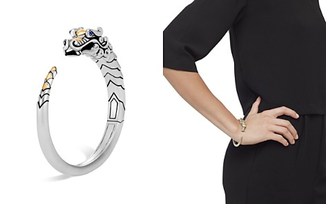 John Hardy Brushed 18K Yellow Gold and Sterling Silver Legends Naga Small Kick Cuff with Sapphire Eyes - Bloomingdale's_2