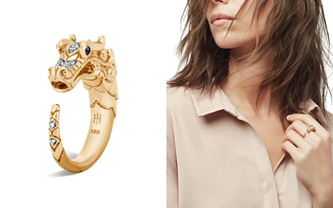 John Hardy 18K Yellow Gold Legends Naga Ring with Diamond and Sapphire - Bloomingdale's_2