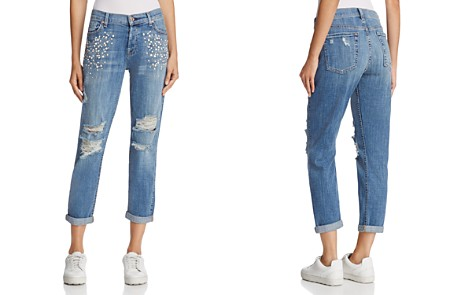 7 For All Mankind Josefina Embellished Boyfriend Jeans in Vintage Wythe with Studs - 100% Exclusive - Bloomingdale's_2