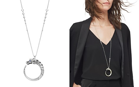 "John Hardy Sterling Silver Naga Brushed Pendant Necklace with Black Sapphire, Black Spinel and Blue Sapphire Eyes, 34"" - Bloomingdale's_2"