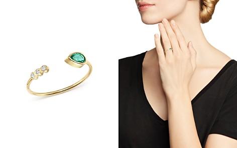 Zoë Chicco 14K Yellow Gold Diamond Bezel & Gemfields Pear-Cut Emerald Bypass Ring - Bloomingdale's_2
