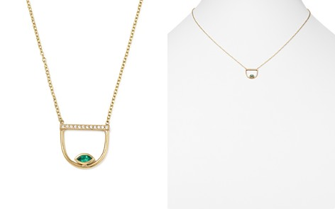 "Zoë Chicco 14K Yellow Gold Pavé Diamond & Gemfields Emerald Marquise Horizon Necklace, 16"" - Bloomingdale's_2"