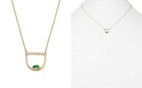 "Zoë Chicco 14K Yellow Gold Pavé Diamond & Gemfields Emerald Marquise Horizon Necklace, 16"" - Bloomingdale's_2"