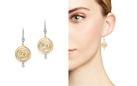 Meira T 14K White and Yellow Gold Spiral Circle Diamond Disc Earrings - Bloomingdale's_2