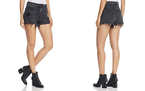 T by Alexander Wang Bite Net Print Denim Shorts in Grey Aged - Bloomingdale's_2