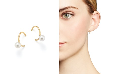 Zoë Chicco 14K Yellow Gold & Cultured Freshwater Pearl Huggie Hoop Earrings - Bloomingdale's_2