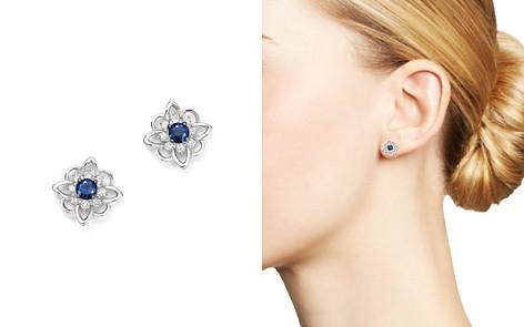 KC Designs 14K White Gold Floral Diamond & Sapphire Stud Earrings - Bloomingdale's_2