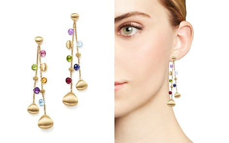 Marco Bicego 18K Yellow Gold Paradise Teardrop Long Double Strand Gemstone Earrings - Bloomingdale's_2