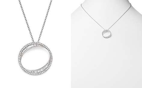 Bloomingdale's Diamond Round & Baguette Open Pendant Necklace in 14K White Gold, .50 ct. t.w. - 100% Exclusive_2