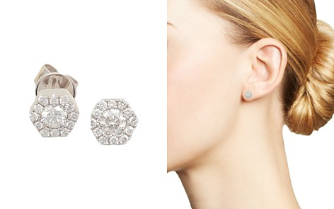 Frederic Sage 18K White Gold Firenze Mini Single Hexagon Diamond Stud Earrings - Bloomingdale's_2