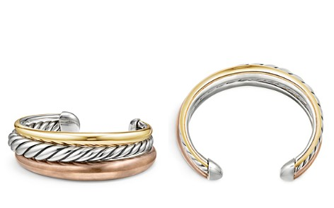 David Yurman Pure Form Mixed Metal Three-Row Cuff with Bronze, Sterling Silver & Brass - Bloomingdale's_2