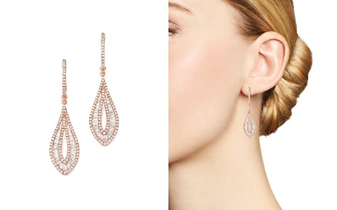 Bloomingdale's Diamond Round & Baguette Drop Earrings in 14K Rose Gold, 1.55 ct. t.w._2
