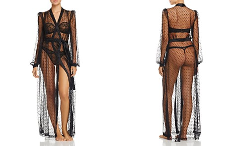 Dita Von Teese Lamarr Sheer Dot Long Robe - Bloomingdale's_2