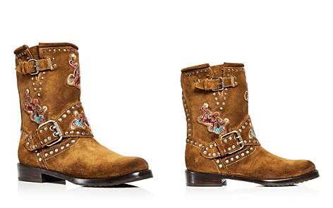 Frye Women's Nat Flower Embellished Suede Engineer Boots - Bloomingdale's_2