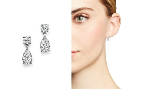 Bloomingdale's Diamond Cluster Drop Earrings in 14K White Gold, 1.0 ct. t.w. - 100% Exclusive _2