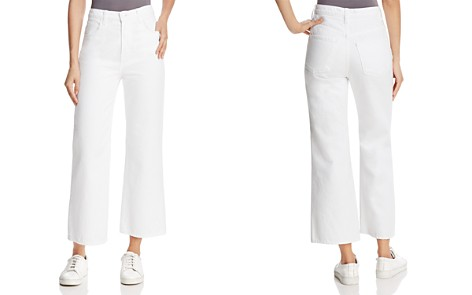 J Brand Joan High-Rise Cropped Wide-Leg Jeans in Optic White - Bloomingdale's_2