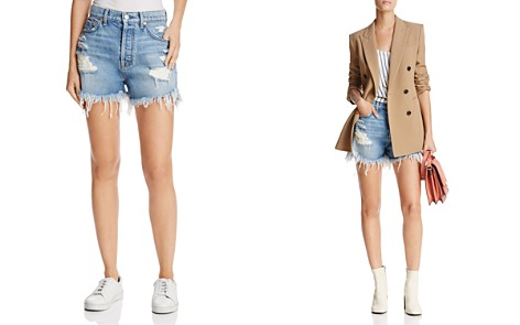 7 For All Mankind High-Rise Destroyed Denim Cutoffs in Vintage Wythe - Bloomingdale's_2