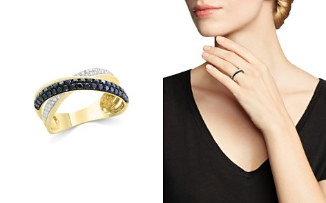 Bloomingdale's Black & White Diamond Crossover Ring in 14K Yellow Gold - 100% Exclusive_2