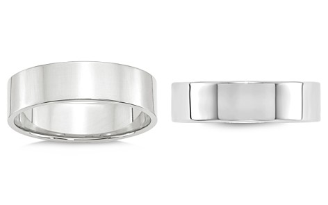Bloomingdale's Men's 6mm Lightweight Flat Band in 14K White Gold - 100% Exclusive_2