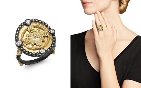 Armenta 18K Yellow Gold & Blackened Sterling Silver Old World Diamond & White Sapphire Heraldry Ring - Bloomingdale's_2