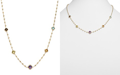 """Bloomingdale's Beaded Multi Gemstone Clover Station Necklace in 14K Yellow Gold, 19"""" - 100% Exclusive _2"""