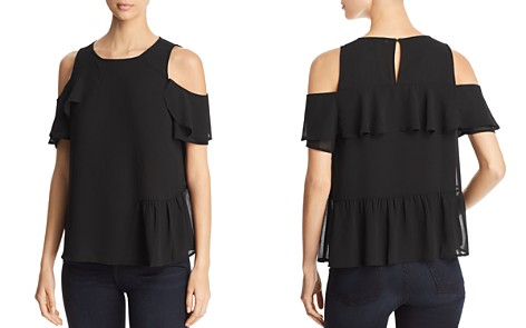 Design History Asymmetric Ruffle Cold-Shoulder Top - Bloomingdale's_2