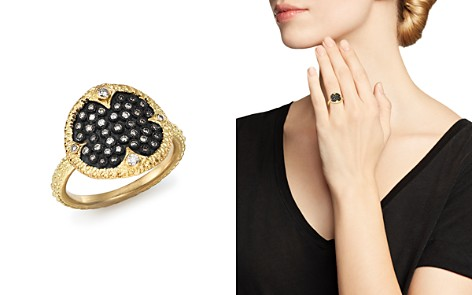 Armenta Blackened Sterling Silver & 18K Yellow Gold Old World Pavé Champagne Diamond Disc Ring - Bloomingdale's_2