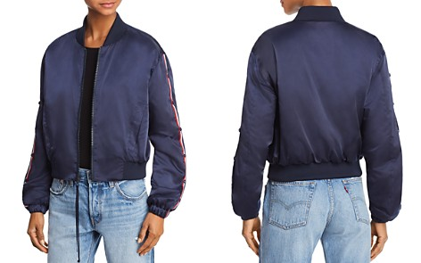 KENDALL and KYLIE Striped Sleeve Bomber Jacket - Bloomingdale's_2