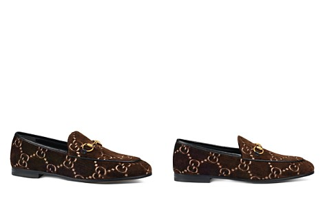 Gucci Women's New Jordaan Velvet Logo Loafers - Bloomingdale's_2
