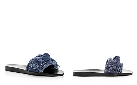 MARION PARKE Women's Jordan Fringed Denim Slide Sandals - Bloomingdale's_2