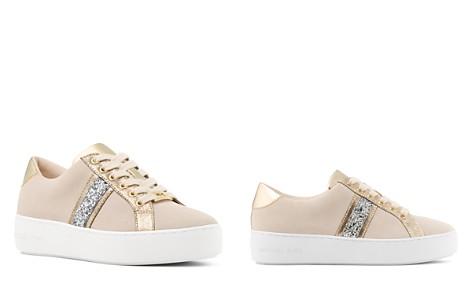MICHAEL Michael Kors Women's Poppy Suede Glitter Stripe Lace Up Sneakers - Bloomingdale's_2
