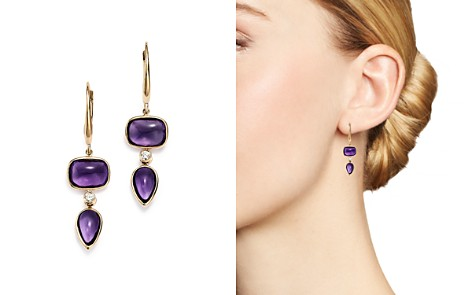 Olivia B 14K Yellow Gold Tiered Amethyst Cabochon & Diamond Drop Earrings - 100% Exclusive - Bloomingdale's_2