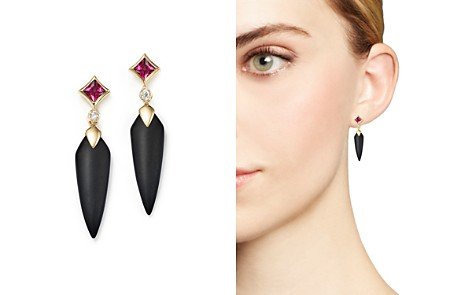 Olivia B 14K Yellow Gold Onyx Spike, Rhodolite Garnet & Diamond Drop Earrings - 100% Exclusive - Bloomingdale's_2