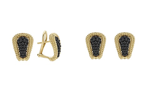 LAGOS Gold & Black Caviar Collection 18K Gold & Ceramic Huggie Earrings - Bloomingdale's_2