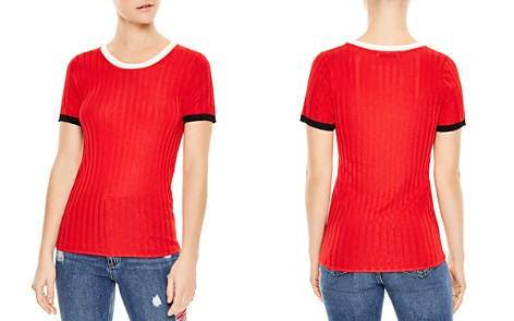 Sandro Nolene Contrast-Color Short Sleeve Sweater - Bloomingdale's_2