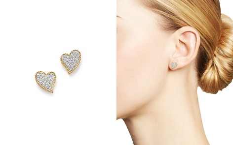 Roberto Coin 18K Yellow Gold Tiny Treasures Diamond Heart Stud Earrings - Bloomingdale's_2