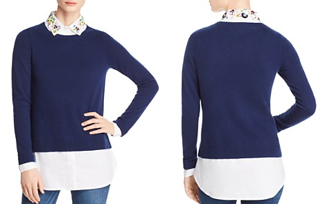 C by Bloomingdale's Layered-Look Embellished Lightweight Sweater - 100% Exclusive _2