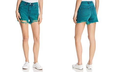 BLANKNYC High-Rise Distressed Denim Shorts in Turquoise - Bloomingdale's_2