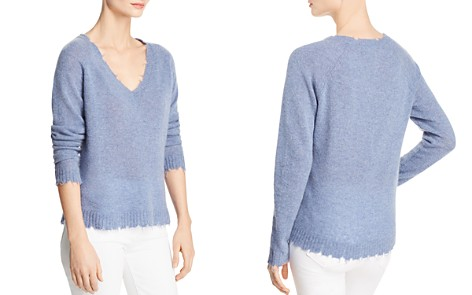 Minnie Rose Distressed Cashmere V-Neck Sweater - Bloomingdale's_2