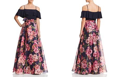 Eliza J Cold-Shoulder Floral Gown - Bloomingdale's_2